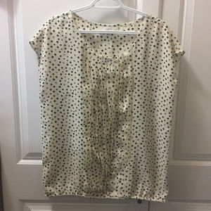 LOFT Cream with Black Gray Pattern Size Large